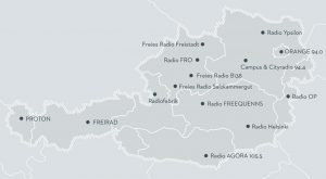 Karte Freie Radios in Österreich
