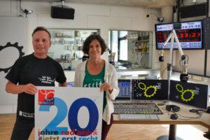 Alf Altendorf (Geschäftsführung kaufmännisch) & Eva Schmidhuber (Geschäftsführung Programm) im neuen Studio A der Radiofabrik