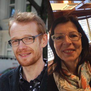 Zwei Fotos von Sebastian Jolles und Astrid Rieder nebeneinander