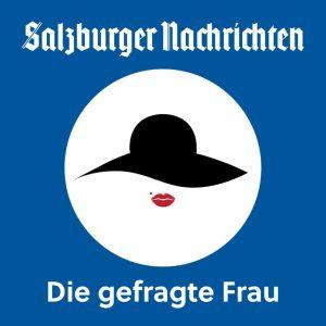 """Logo vom Podcast der Salzburger Nachrichten """"die Gefragte Frau"""""""
